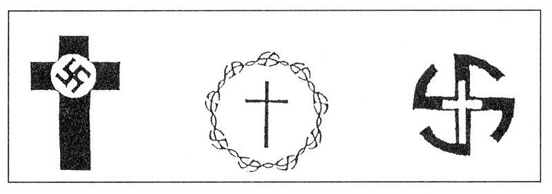 Embleme der Deutschen Christen 1932, 1935 und 1937