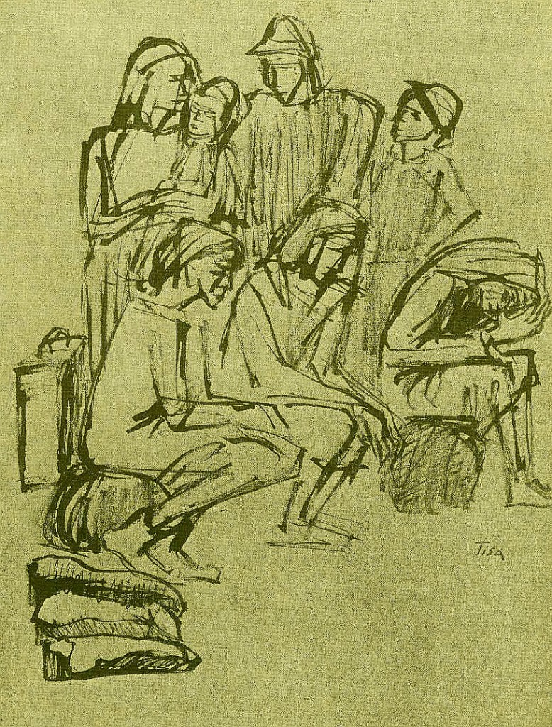 Flüchtlinge, Zeichnung von Tisa von der Schulenburg (Sammlung Stegemann)