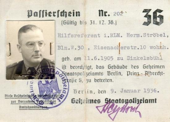 Passierschein des Dinkelsbühler Gestapo-Beamten für die Zentrale in Berlin