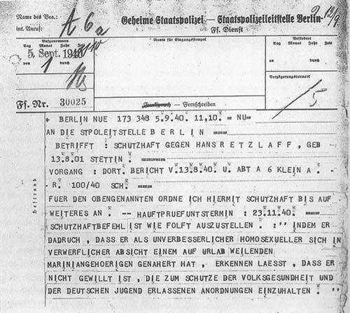 Telex der Gestapo,