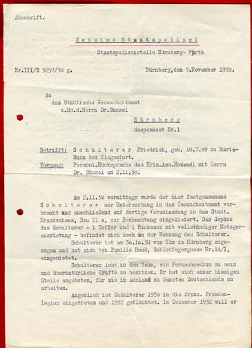 Dokument der Gestapostelle Nürnberg-Fürth