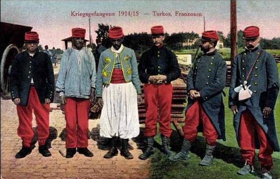 Französische Kriegsgefangene im Ersten Weltkrieg (Postkarte)
