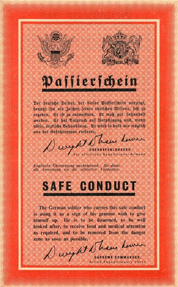 Alliiertes Flugblatt mit dem Versprechen einer guten Behandlung, 1944