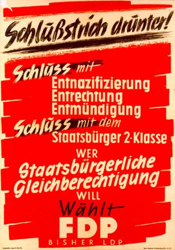 Wahlplakat gegen die Entnazifizierung 1949