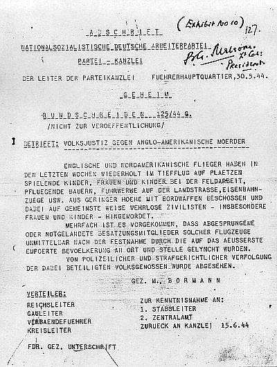 Geheimer Brief von Reichsleiter Bormann an Parteistellen (Text siehe unten)