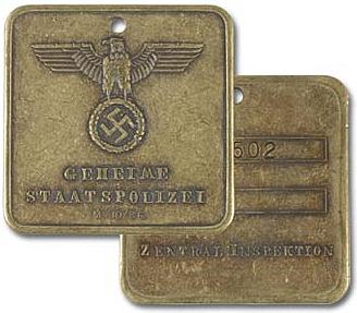 Gestapo-Marke, Vorder- und Rückseite