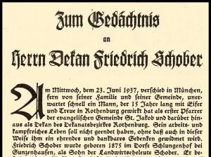 Nachruf für Dekan Schober 1937 (Ausriss)