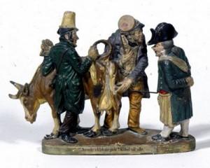 Jüdische Viehhändler, Terakotto-Figuren, 19. Jh. (Badisches Landesmuseum)